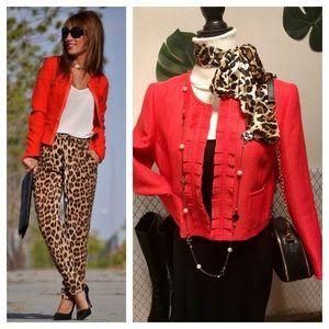 Coral spring tweed ruffle front blazer jacket